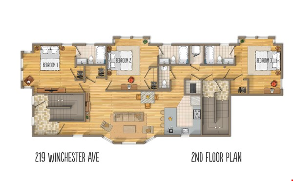 New, modern &  luxurious apartment, 3 master bedrooms, central AC! Yale Home Rental in New Haven 7 - thumbnail