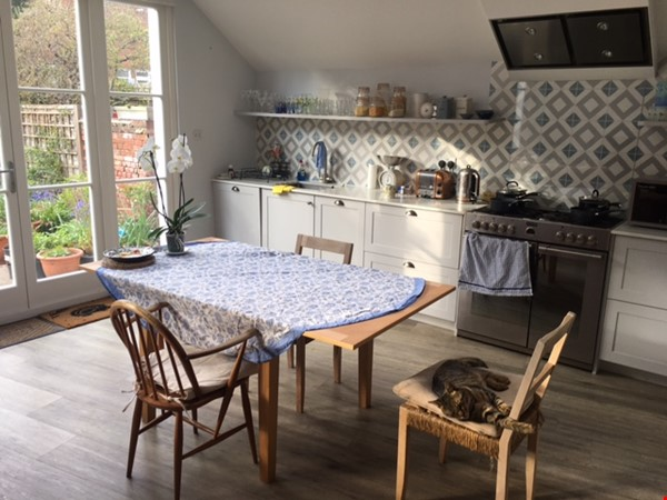 Large bedroom and private bathroom in lovely garden flat in North London Home Rental in  1 - thumbnail