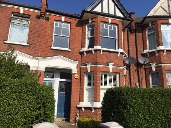 Large bedroom and private bathroom in lovely garden flat in North London Home Rental in  5 - thumbnail