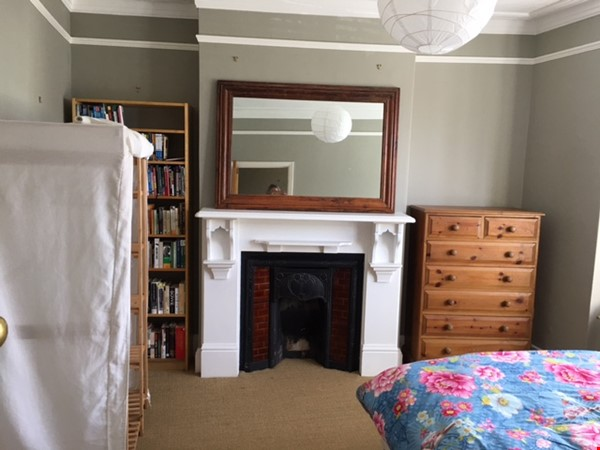 Large bedroom and private bathroom in lovely garden flat in North London Home Rental in  3 - thumbnail