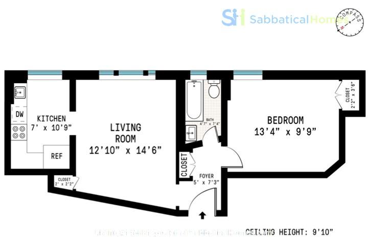 One bedroom sabbatical rental on UWS near Columbia Univ (09/21-06/22) Home Rental in New York, New York, United States 0