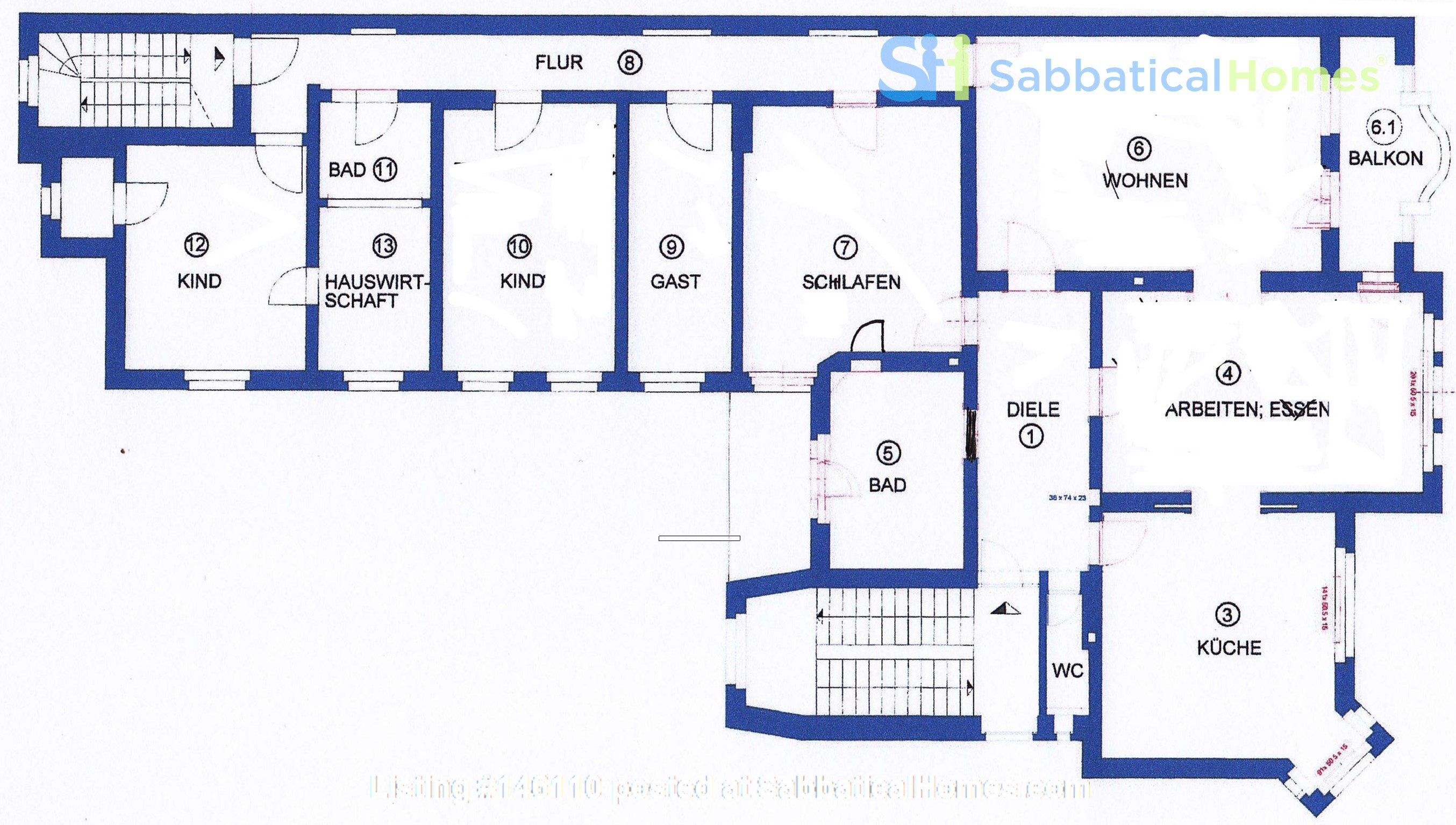 7-room upper-class apartment (2500 sq. foot) for long term rent Home Rental in Berlin 9